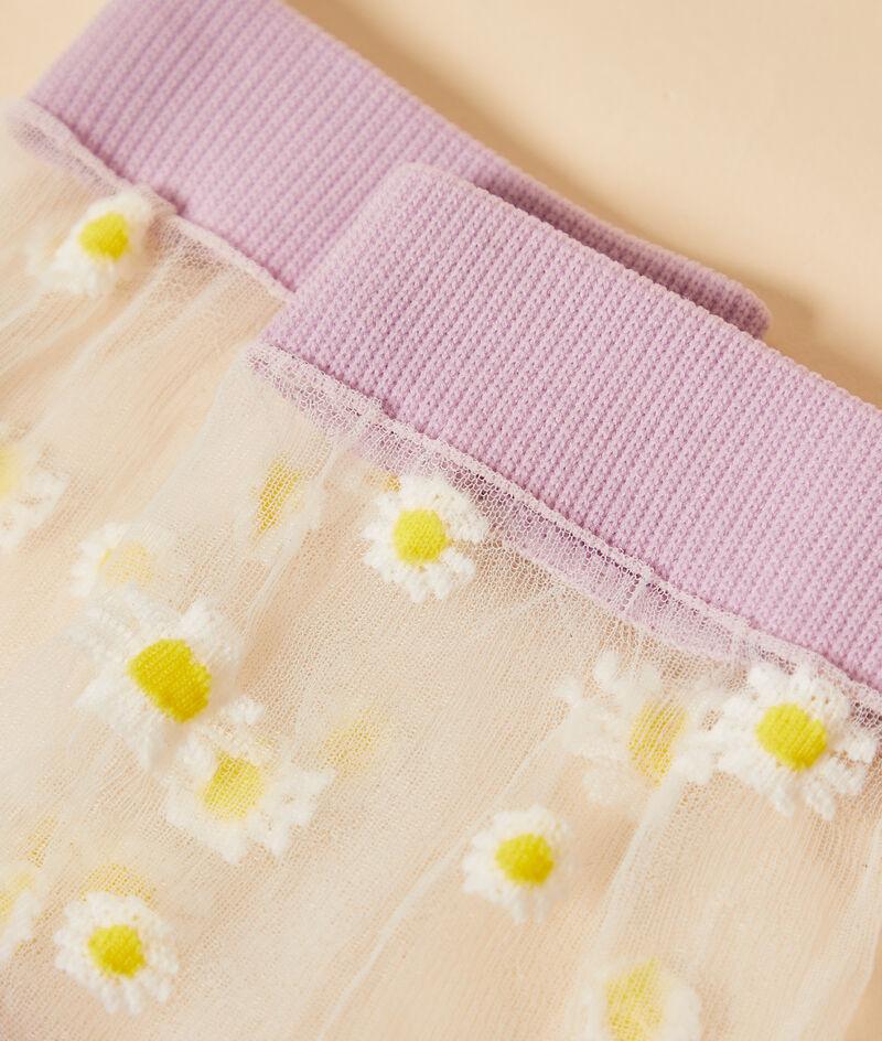 Calcetines de tul con margaritas