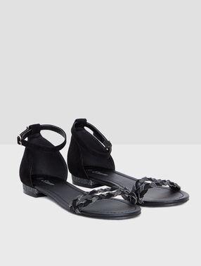 Sandales double tresse noir.