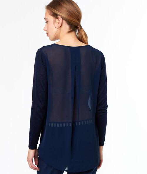Jersey escote en V dos texturas