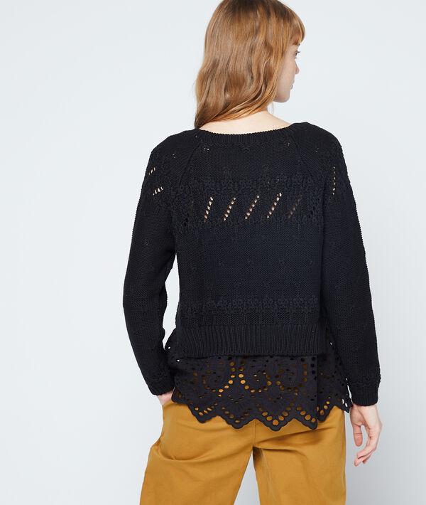 Suéter de punto grueso con detalles en crochet