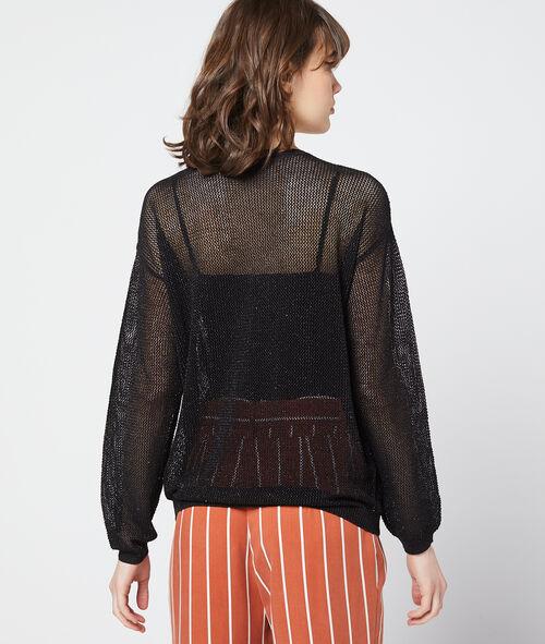 Suéter de punto transparente de hilo metalizado