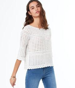 Pull tricot manches 3/4 écru.