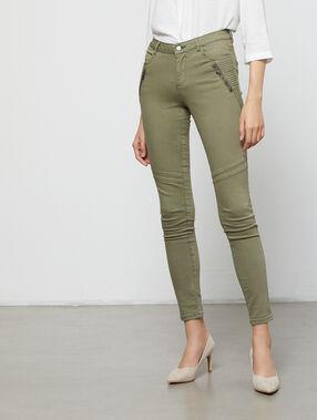 Pantalón estrecho bolsillos con cremallera c.caqui.