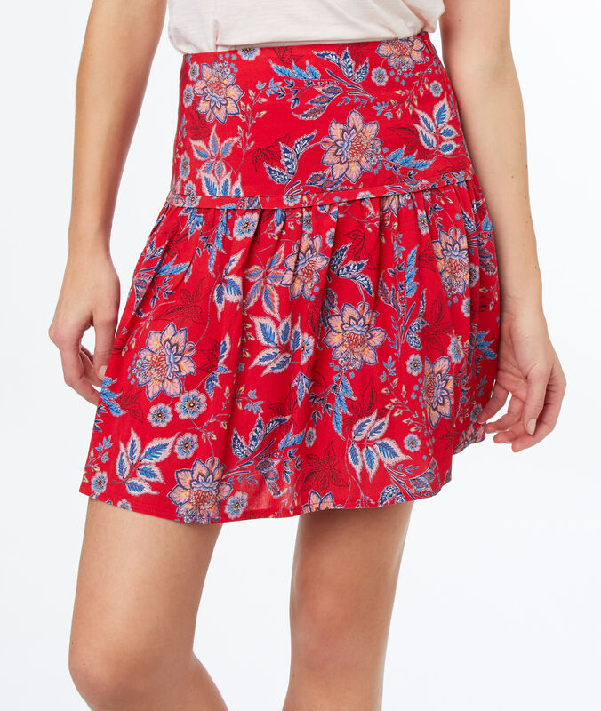Falda holgada estampada rojo.