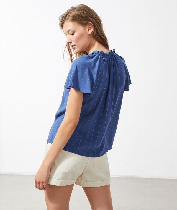 Blusa vaporosa, estampado de rayas
