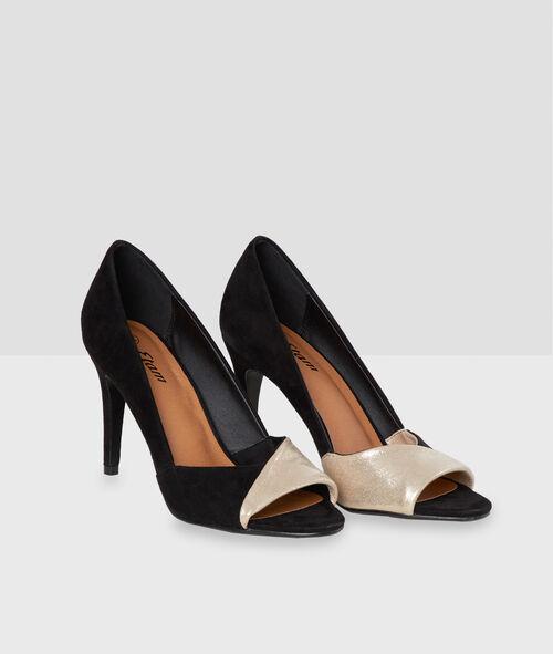 Zapatos tacón dos texturas