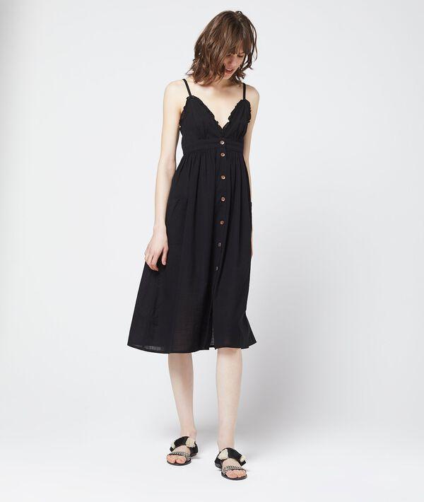 Vestido largo de algodón con botones