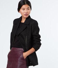 Manteau 3/4 en laine mélangée noir.