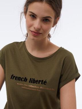 Camiseta cuello redondo french liberté caqui.