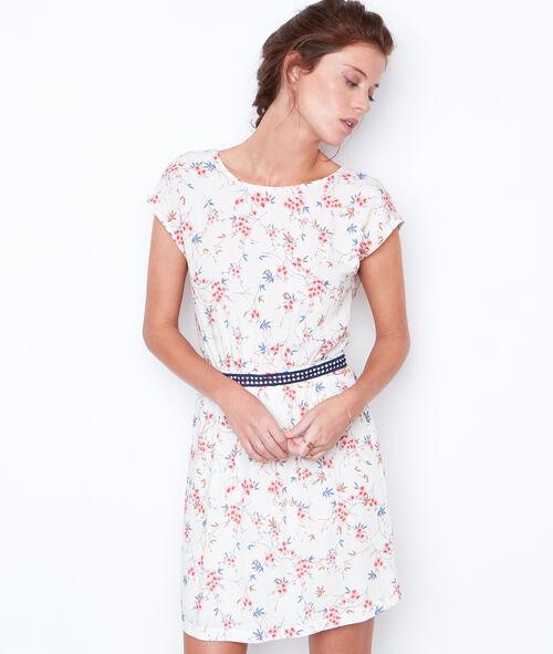 Vestido manga corta estampado flores