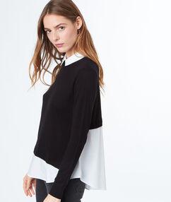 Pull col chemise 2 en 1 noir.