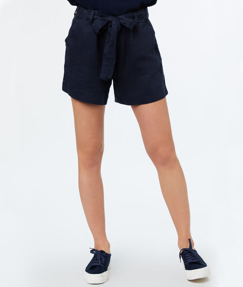 Pantalón corto con lazada tencel