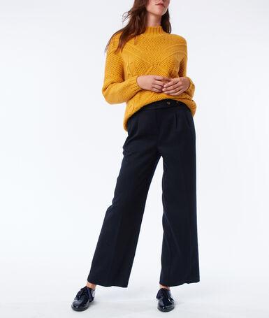 Pantalon large taille haute bleu marine.