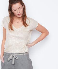 Camiseta escote en v lúrex y lino sable.