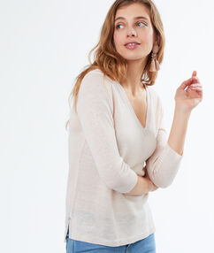 Jersey cuello en v lino blanco.