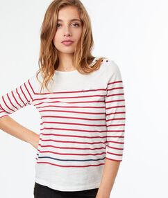 Camiseta estampado a rayas estilo marinero rojo.