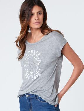 T-shirt col rond avec imprimé gris chine clair.