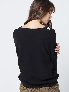 Jersey bordado de punto grueso negro.