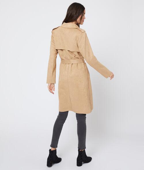 Abrigo con cinturón efecto gamuza