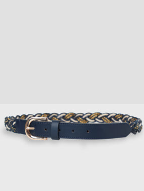 Cinturón trenzado azul marino.