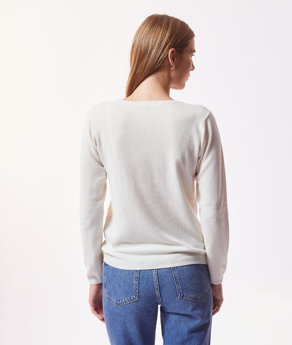 Jersey de cachemira, escote en V