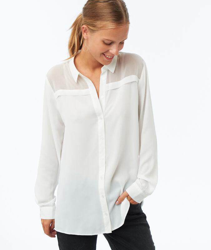 Camisa lisa manga larga crudo.