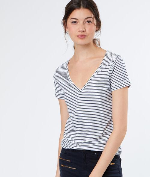 Camiseta escote en V estampado de rayas