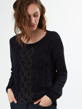 Pull tricot col rond bleu marine.