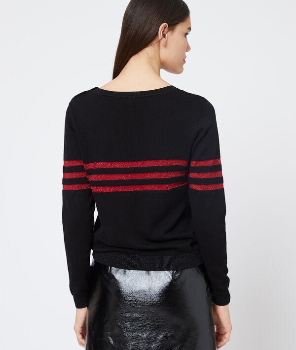 Suéter con rayas de hilo metalizado