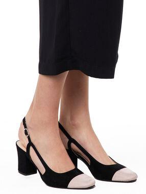 Sandalias tacón medio dos texturas negro.