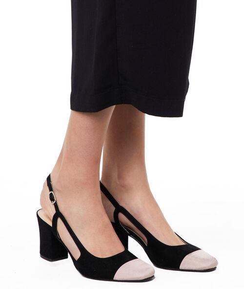 Sandalias tacón medio dos texturas