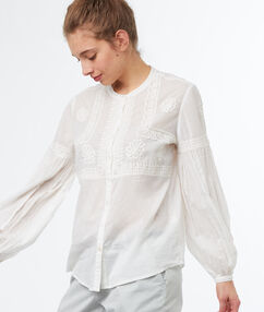 Blusa bordados mangas abullonadas crudo.