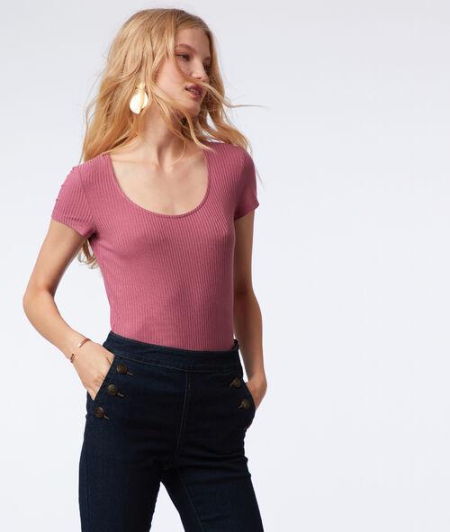 Camiseta acanalada cuello redondo