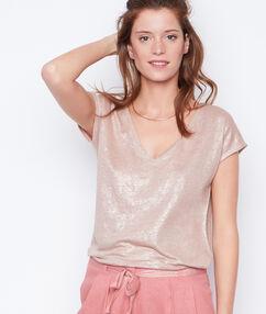 Camiseta escote en v lúrex y lino rosa.