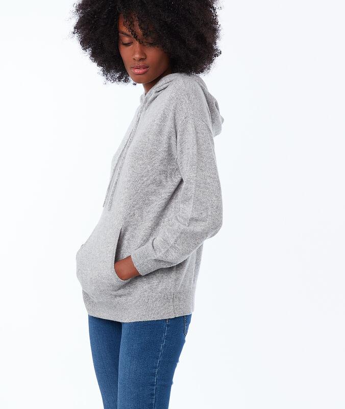 Jersey sudadera con capucha 100% cachemir c.gris jaspeado.