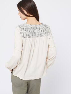 Blusa de estampado jacquard c.beige.