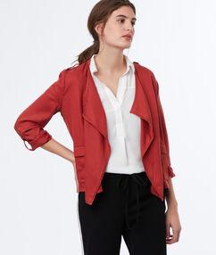 Veste à col châle en tencel® rouge tomate.
