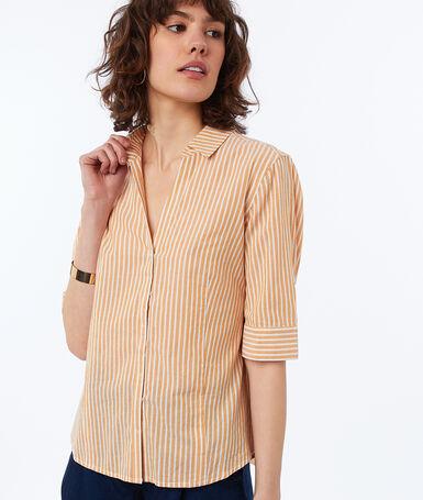 Camisa algodón estampado de rayas  c.ocre.