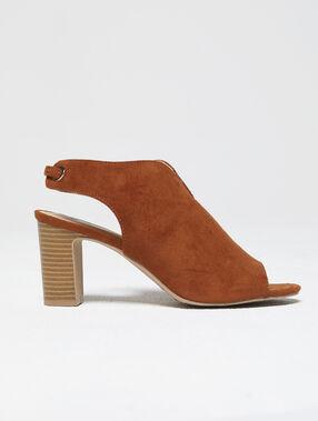 Sandalias con tacón efecto ante c.camel.