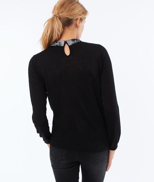Jersey cuello camisero detalles encaje