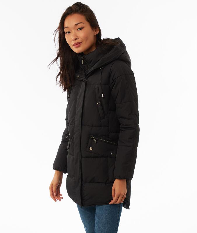 Abrigo largo acolchado con capucha negro.