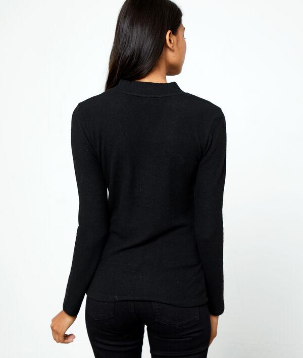 Suéter cuello abotonado punto fino