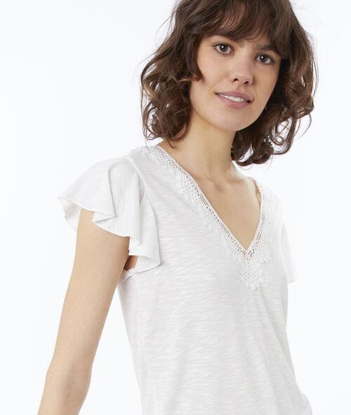 Camiseta escote en V guipur