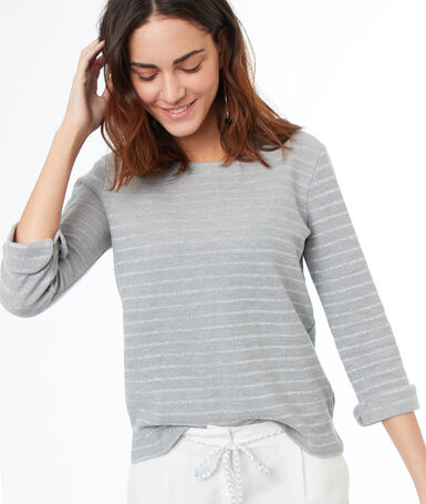 Camiseta manga larga estampado de rayas c.gris.