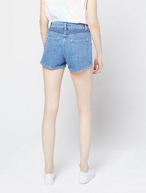 Pantalón corto vaquero efecto decolorado  azul.