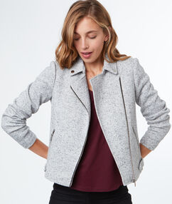 Veste style perfecto gris chine clair.
