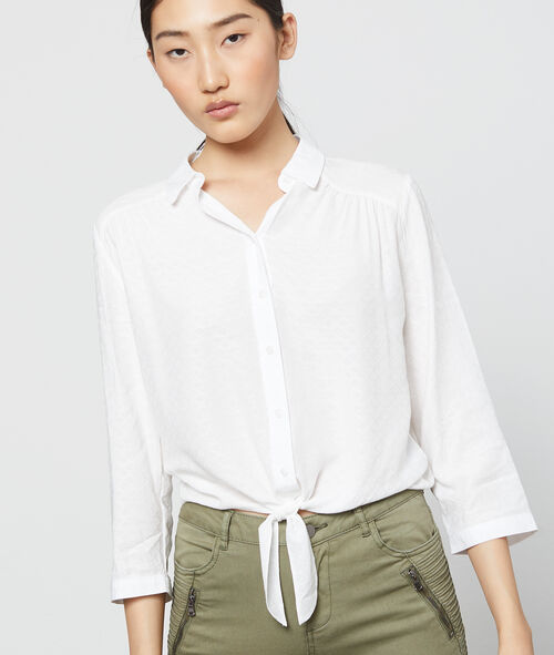 Camisa anudada con estampado Jacquard