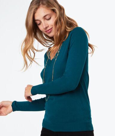 Jersey cuello en v verde.