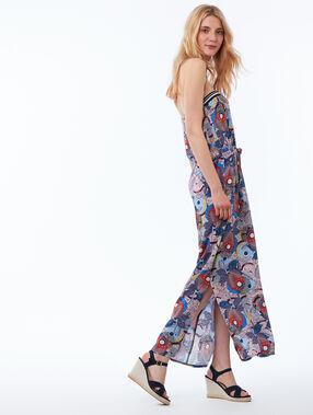 Robe longue bustier à imprimé floral bleu marine.