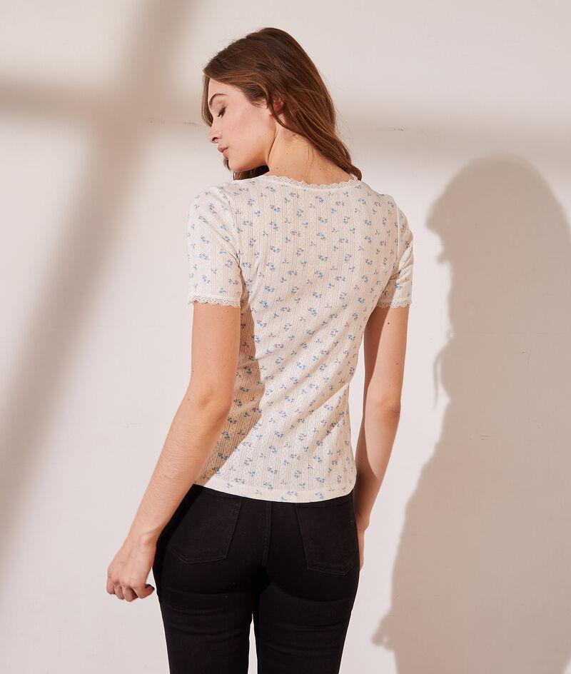 Camiseta con motivos de encaje